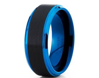 Black Tungsten Wedding Band Anniversary Tungsten Ring Blue Tungsten Wedding Band Anniversary Ring Men & Women Brush Ring