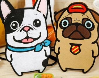 DIY Kit Bulldog and Pug Crossbody Bag / Handbag