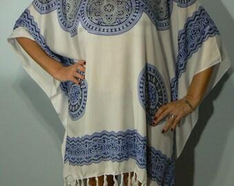 Blue Mandala Poncho Style Cover Up
