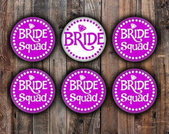 Purple Bride and Bride Squad pins, 2.25 inch, for bachelorette, shower, wedding