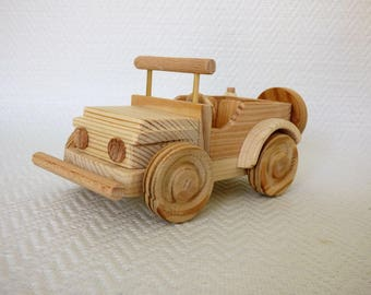 Handmade wooden toy Jeep.