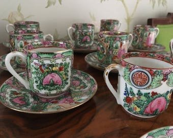 Antique Qing Dynasty Teacups and Saucers - Set of 10