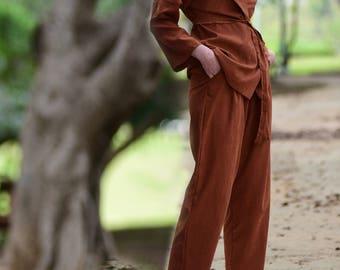 Women Pants Suit, Cupro Pajama Suit, Boho Set Suit, Silk Suit, Power Suit, Brown Set, Suit Casual Women, Kimono & Pants, Two Piece Outfit