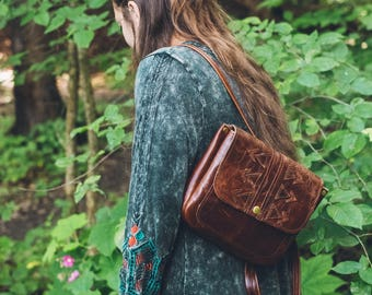 Bohemian Leather Backpack / Handmade Brown backpack with a free spirited design