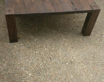 Reclaimed Wood Coffee Table   Parsons Base   FREE SHIPPING