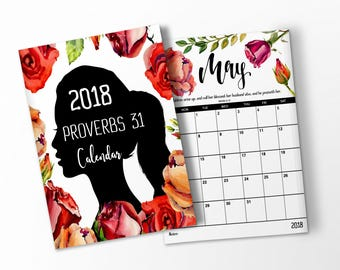 """2018 PRINTABLE CALENDAR """" PROVERBS 31  Scripture Calendar 2018 Wall Calendar 2018 Desk Calendar Monthly Watercolor Printable Calendar Gift"""