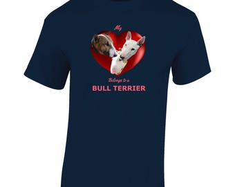 English Bull Terriers in a Heart Design T shirt - 3 Bull Terriers in a Rich Red Heart, My Heart Belongs to a Bull Terrier