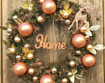 CHRISTMAS WREATH - Rose Gold - Front Door Decoration - Glass Bulbs Reindeer w HOME