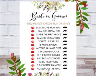 Bride Or Groom, Bridal Shower Games, Printable, Who Said It, He Said She Said, Guess Who, Cards, Size 5x7, Floral, Instant DIGITAL DOWNLOAD