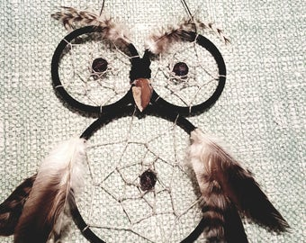 Black and white owl dream catcher with feathers/beading/suede/wall hanging