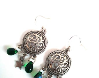 Handmade earrings with drops green iridescent star