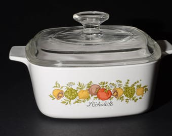 CORNING WARE, Vintage,  Spice of Life 1-1/2 Quart Casserole with Glass Lid, Covered Casserole Dish, 1980s, Pyroceramic, Pyrex lid