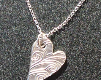Pure silver handmade heart pendant necklace