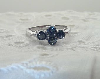 Sapphire Cluster Sterling Silver Ring/Cathedral Setting/Rhodium Plated/Free Shipping US/September Birthstone/Christmas/Valentine gift