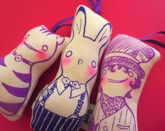 Alice in Wonderland dolls: Hatter, March Hare and Chesire's Cat