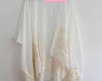 Kimono with White Embroidery