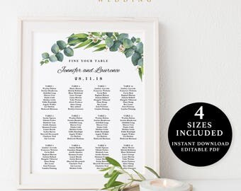 Green Leaves Seating Chart Template, 16x20, 18x24, 20x30, 24x36, Instant Download Printable, Editable PDF, EWSC002