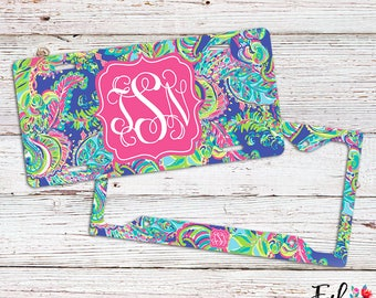 Monogrammed Lilly Inspired License Plate/Frame - Toucan Play
