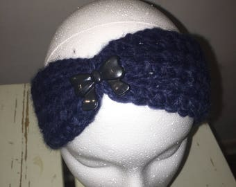 Navy Blue Ear Warmer with Black Bow Button