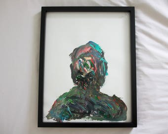 Acrylic Abstract Silhouette Painting 11x14 Card Stock