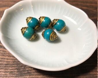 Turquoise + Brass Beads/ 5pcs