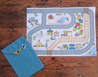Waterproof Town play mat, road play mat, train play mat, travel play mat, fold up play mat, carry toy play mat, car play mat, outdoor