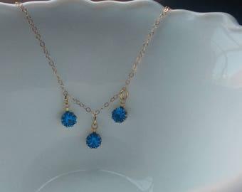 Vintage Swarovski crystals on  14kt gold filled chain necklace