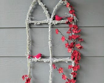 Winter Cardinal Window Frame Wreath in White and Red, Perfect fit between Screen Doors!