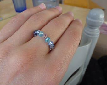 "Crystal Blue ""ring T.54 silver, Swarovski Crystal beads"