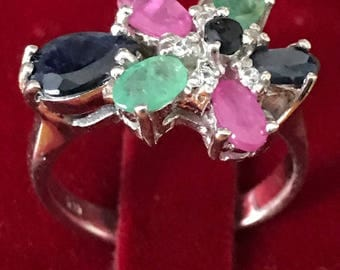 Sterling silver flower ring set with natural rubies, emeralds and sapphires