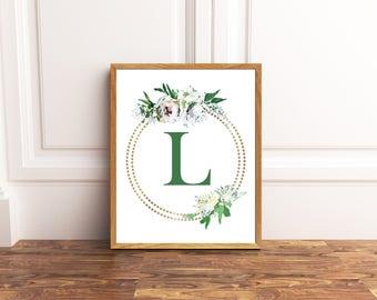 Monogram Printable Art - Letter L - Nursery Decor - Initial Wall Art - Wedding Sign - Floral Wreath - Kids Wall Art - Girl Art