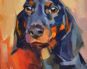 Custom Pet Portraits, Custom Dog Oil Painting, Animal Painting, Original Art, 6x6 in