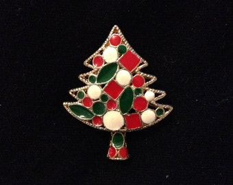 Vintage Gold Tone Christmas Tree Brooch Pin Clip Red & Green and White Costume Jewelry Lapel Holiday Ornament Tree