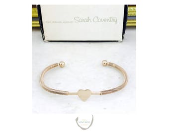 Vintage Signed Sarah Coventry Heart Gold Tone Cuff Bracelet with Original Box | Free Shipping & Gift Bag