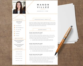 Template Modern of resume - MANON |  CV Template for Word, Cover Letter, Two Page Resume, Page references, icons