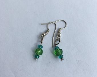 Green crystal bead drop earrings
