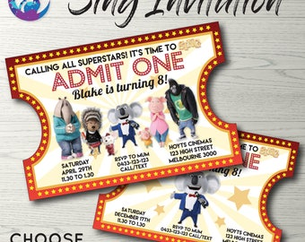 Sing Movie Invitation, Sing Invitation, Karaoke Invitation, Sing Movie Party, Sing Movie Invite, Vintage Ticket Invitation, Ticket Style