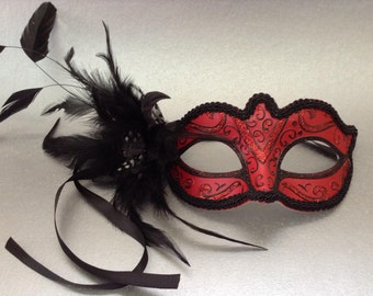 Feathered Black Red Masquerade ball mask for girls and women