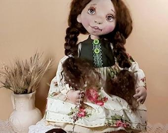 Doll with a dog textile doll OOAK art dol fabric doll  doll interior doll cloth doll home decor vintage doll Doll Soft doll