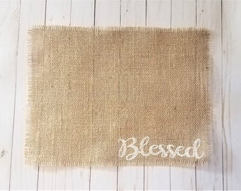 Blessed Placemats, Burlap Easter Placemats, Farmhouse Easter Place Mats, Rustic Easter Table Decor, Farmhouse Easter Table Decorations