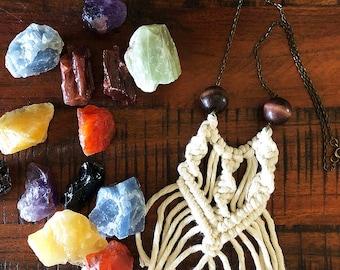 Macrame Necklace, Mini Macrame Accessories, Handmade Necklace, Macrame Pendant, Mini Macrame Necklace