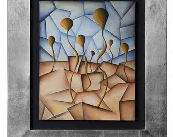 Sprouts by Cesar Vazquez | Rebirth | Desert | Curves vs Linear | Desert Plants | Cubism | Symbolism | Aluminium Sheet Frame