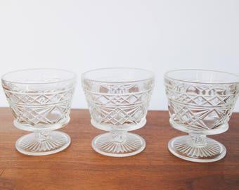 Vintage Stemmed Dessert Sorbet Glasses Clear Pressed Glass Set of 3
