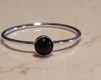 Black onyx gemstone sterling silver stacking ring, semi precious ring, black stone ring, dainty ring, stacking ring