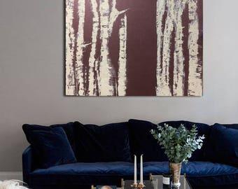 Price drop! Nature inspired textured birch original canvas 30x40 natural art trees