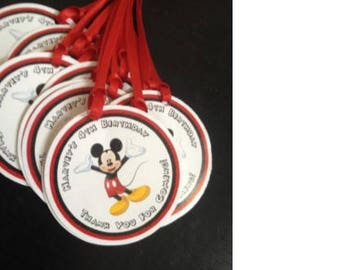 Personalized Mickey Mouse Favor Tags  -  Mickey Mouse Tags   - Mickey Mouse Birthday