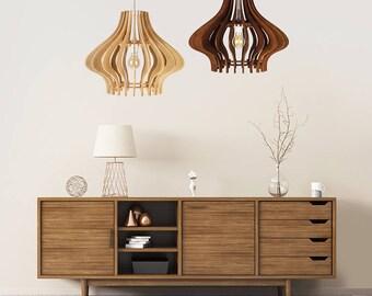 "Wood Lamp / Wooden Lamp Shade / Hanging Lamp / Pendant Light / Decorative Ceiling Lamp / Scandinavian Style Lamp / Modern Lamp / ""Figura"""