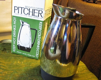 Vintage Insulated Chrome Pitcher w Original Box! Distributed by Tundra Imports circa 1960s