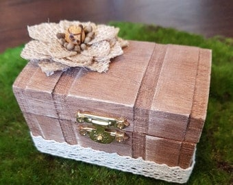 Rustic Wedding Ring Box - Flower - Lace - Engagement - Gift