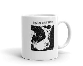 I Love My Boston Terrier Love Mug made in the USA